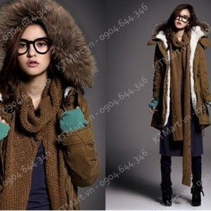 Military Removable Fox Fur Hood Cashmere Coat Med
